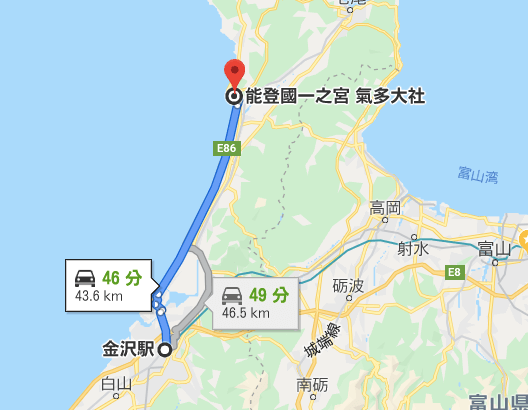 金沢駅から気多大社 車