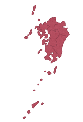 九州地方の地図のイラスト(地方区分)